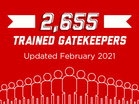 Poster reading: 2655 trained gatekeepers since October 2019. Updated February 2021.